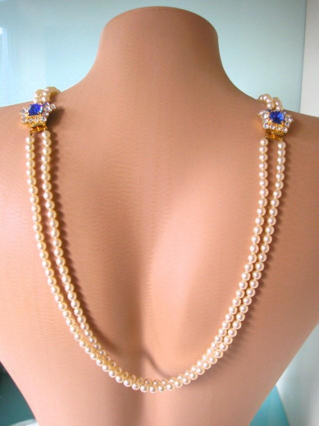 wedding photo - Cobalt Blue Bridal Backdrop Necklace