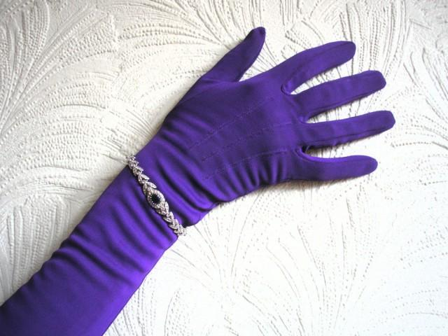wedding photo - Long Purple Opera Gloves