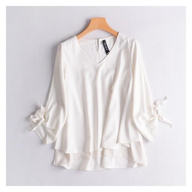 Oversized Asymmetrical Frilled Sleeves Slimming Double Layered Sunproof T-shirt Chiffon Top - Discount Fashion in beenono