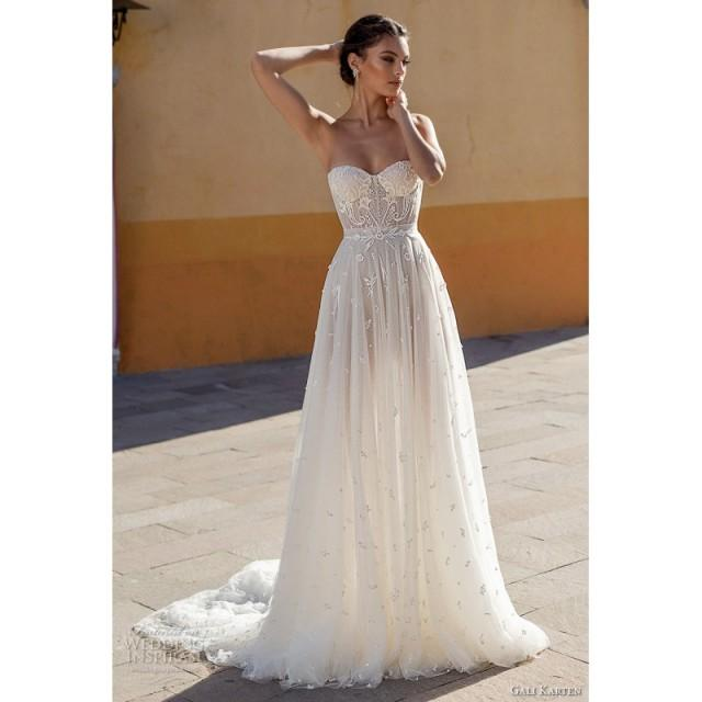 Gali Karten 2018 Chapel Train Sweet Ivory Aline Sweetheart Sleeveless Embroidery Tulle Dress For Bride - Charming Wedding Party Dresses