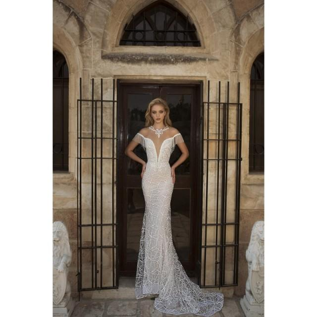 Dany Mizrachi Spring/Summer 2018 DM31/18 S/S Champagne Elegant Chapel Train Illusion Sheath Lace Beading Bridal Gown - Customize Your Prom Dress