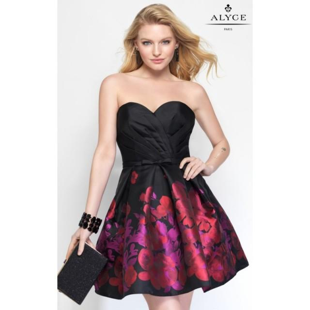 Black/Red Strapless Printed Taffeta Dress by Alyce Sweet 16 - Color Your Classy Wardrobe