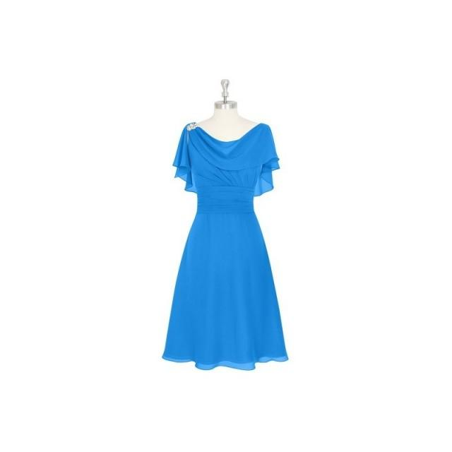 Ocean_blue Azazie Keely MBD - Chiffon V Back Knee Length Cowl Dress - Charming Bridesmaids Store