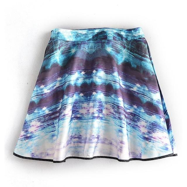 Printed Color-changing Slimming Curvy Blue Skirt - Lafannie Fashion Shop
