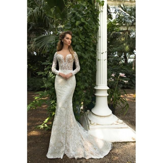 Crystal Design 2018 Steysi Fit & Flare Illusion Cream Long Sleeves Sweep Train Sweet Covered Button Lace Beading Wedding Gown - Customize Your Prom Dress