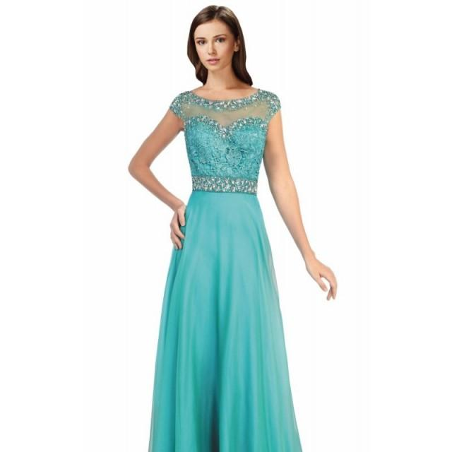 Jade Lace A-Line Chiffon Gown by Elizabeth K - Color Your Classy Wardrobe