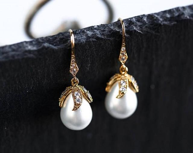 wedding photo - Pearl earrings Gold earrings Large pearl earrings Drop earrings Bridal earrings gold Wedding White pearls earrings Pearl drop earrings 902