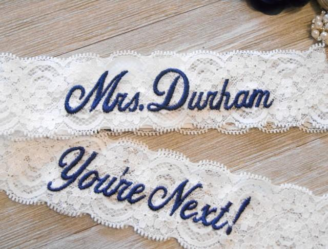 Wedding Garter MONOGRAMMED Bridal Garter Floral Stretch Lace Bridal Garter Single Garter