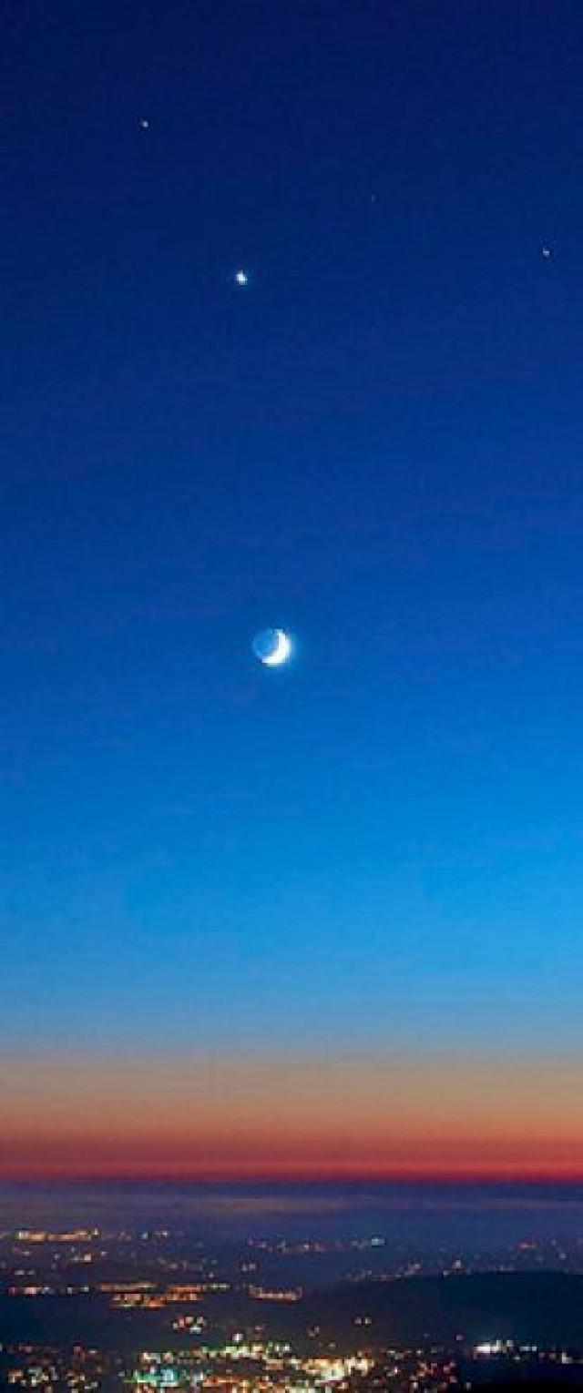 Moon And 4 Planets