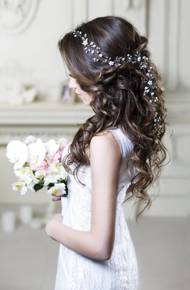 Bridal hair vine Long hair vine Wedding hair vine Flower hair vine Wedding headpiece Pearl hair vine Bridal hairpiece Crystal hair vine