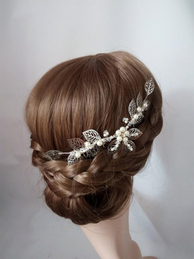 Leaf Hair Piece, Leaf hair Comb, Bridal Hair Comb Silver Leaf Head Piece Wedding Hairpiece, Wedding Headpiece Pearl Bridal Hair Piece Leaves