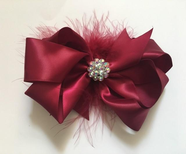 Burgundy Red Wine Hair Bow, Satin Pearl Rhinestone Marabou Hair Bow, Flower Girl Bridal Hair Bows, Maroon Satin Hair Bow. Triple Hair Bow
