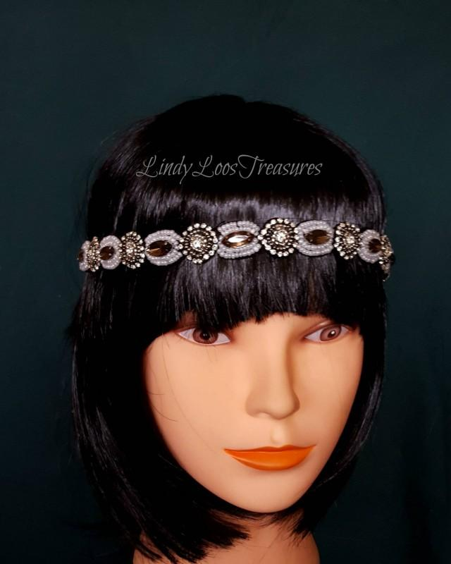 Women Beaded Retro Gatsby Art Deco Hair Band, Crystal Rhinestone Headband, Boho Headband, Seed Bead Head Band, Fancy Headband