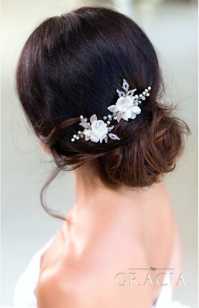 DIONYSIA White Flower Bridal Hair Pins