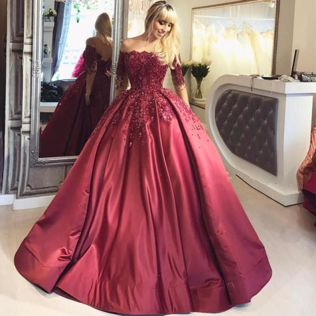 wedding photo - Off The Shoulder Half Sleeves Ball Gown ..