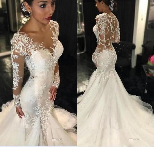 wedding photo - Long Sleeves Mermaid Wedding Dress with Sheer Back
