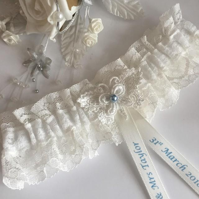 Personalised Wedding Garter, Ivory,  butterfly design, available in S/M & Plus size / Large