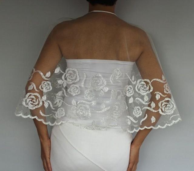 Silver Gilded Tulle Bridal Cape, Sparkly Wedding Cape Dress Capelet, Shrug. Handmade