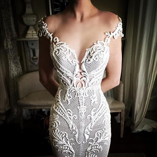 Beautiful Plunging Neckline Wedding Dress