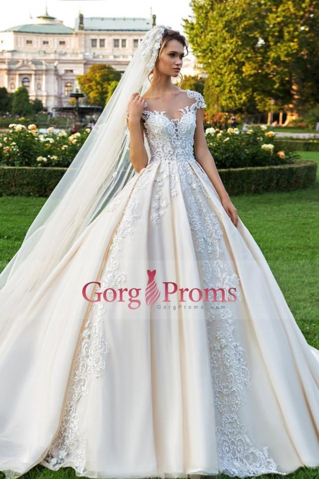 2018 Scoop Tulle A Line Wedding Dresses With Applique And Pearls Chapel Train US$ 349.99 GPP4EF7HJD