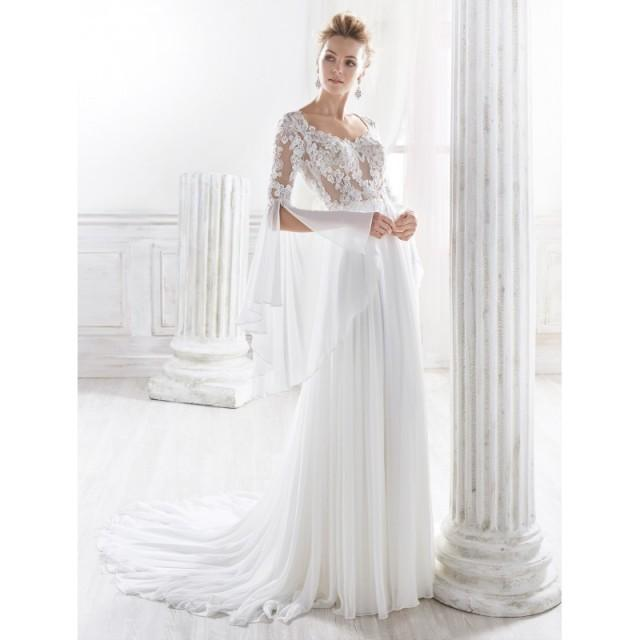 Nicole 2018 NIAB18008 Scoop Neck Aline Ivory Flare Sleeves Elegant Chapel Train Chiffon Beading Covered Button Bridal Gown - Brand Wedding Store Online