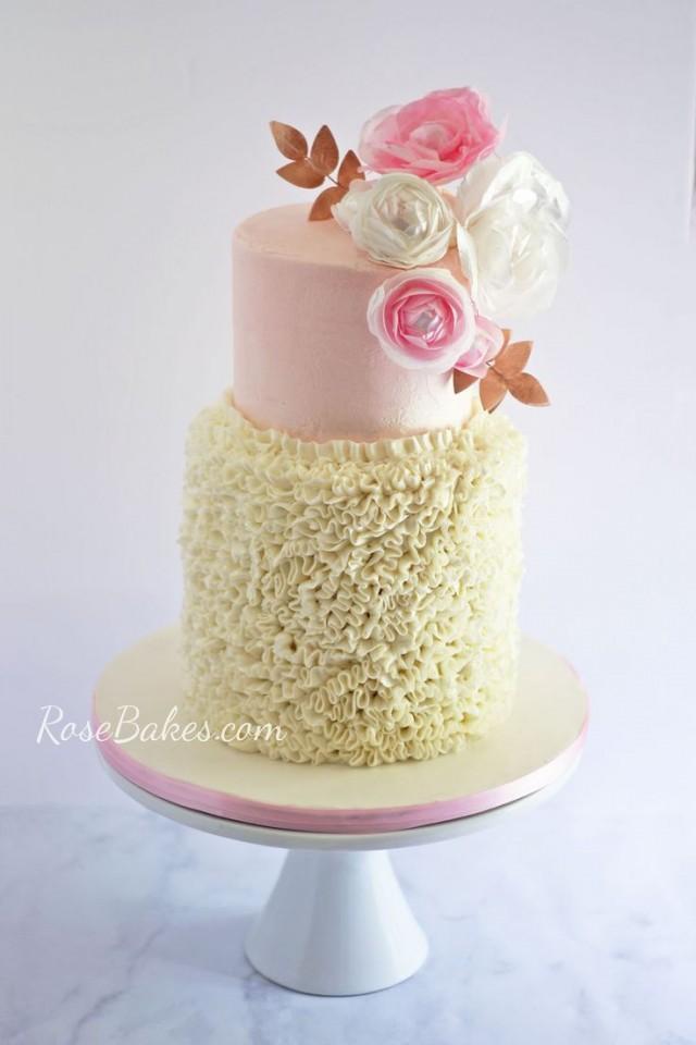 Buttercream Ruffles & Wafer Paper Flowers Cake