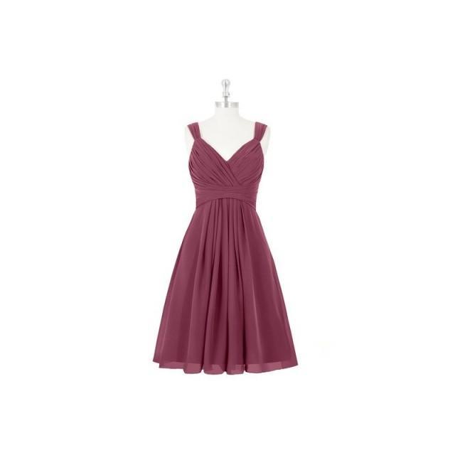 Mulberry Azazie Clara - V Neck Back Zip Knee Length Chiffon Dress - Charming Bridesmaids Store