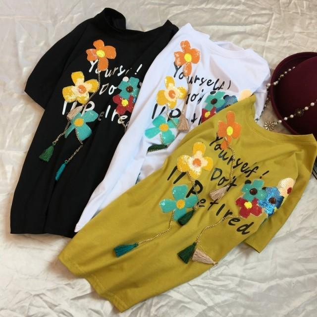wedding photo - Sweet Fringe Scoop Neck Short Sleeves Sequined Cotton Accessories Floral Alphabet Summer Attractive T-shirt - Discount Fashion in beenono