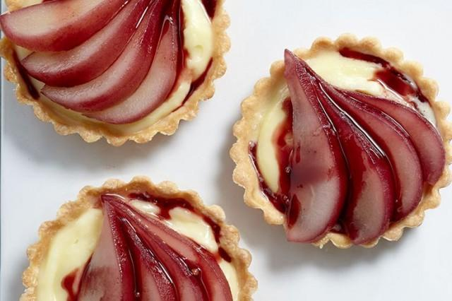 Red Wine-Poached Pear Tartlets