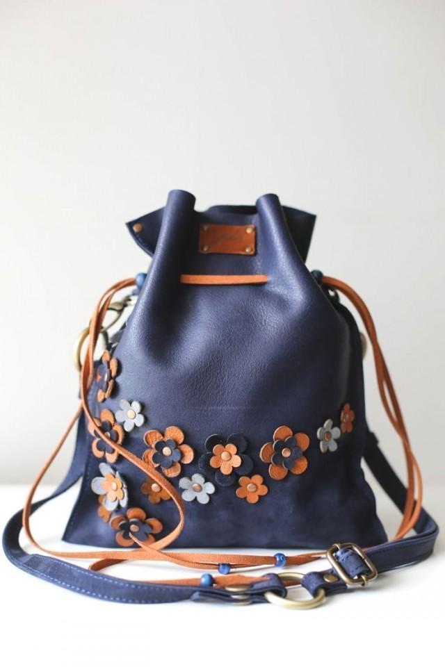 Blue Bag, Floral Bag, Drawstring Bag, Leather Pouch Bag, Floral Crossbody Bag, Summer Purse, Mini Crossbody Bag, Bucket Bag, Blue Handbag, Handmade…