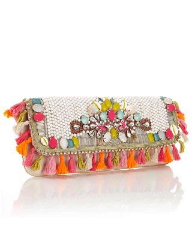 Unique And Exotic Heavily Embellished Clutch With Bright Summery Beading, Shell And Diamante Detail And Tassel All Around Trim. Statement Wow Clutc…
