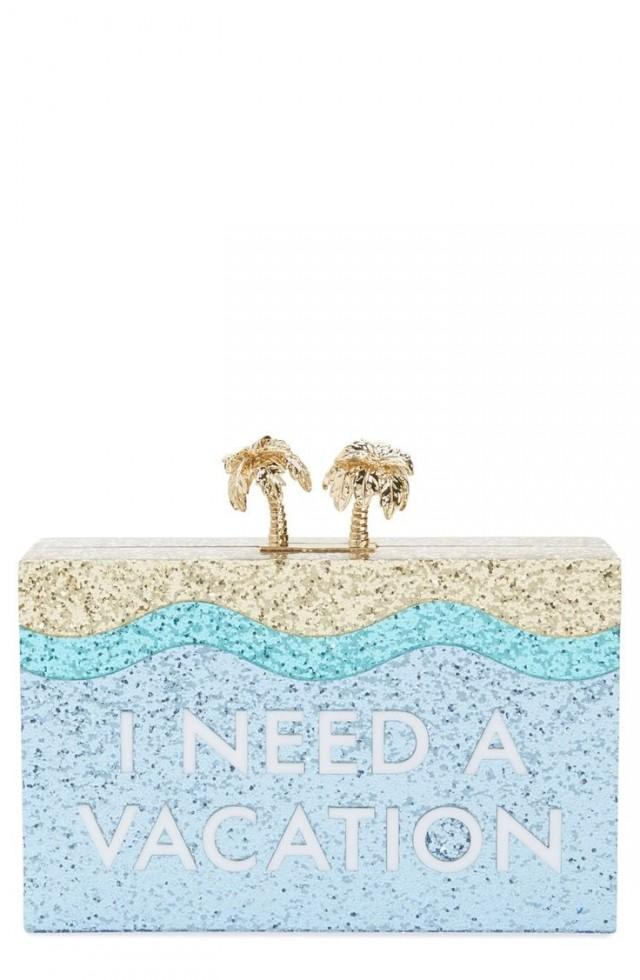 How Fun Is This Box Clutch By Kate Spade That Shines The Desire For A Vacation With Sparkles And Gold Details?