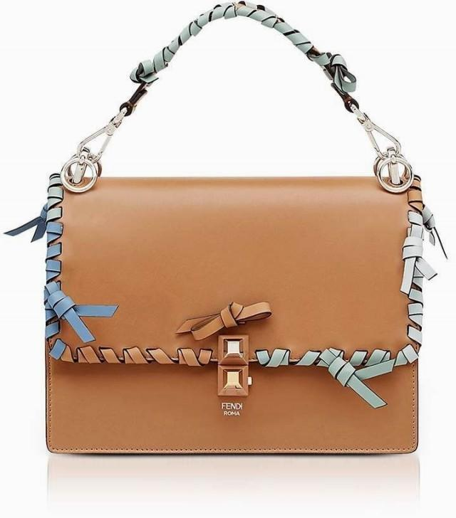 Fendi Kan I M Orzo Leather Lace Up Top Handle Shoulder Bag Leather Handbags And Purses