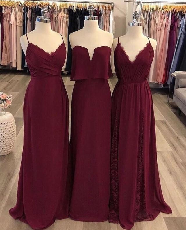 Hayley Paige Occasions Bridesmaids Dresses In Burgundy Lace And Chiffon. #bridesmaids #burgundybridesmaidsdresses #bridesmaiddresses #hayleypaige #…