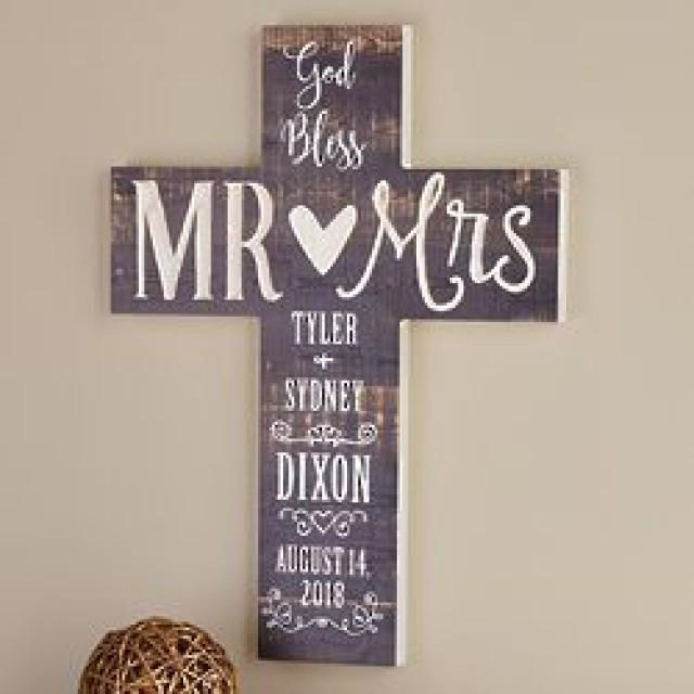 Personalized God Bless Mr. & Mrs. Wooden Cross