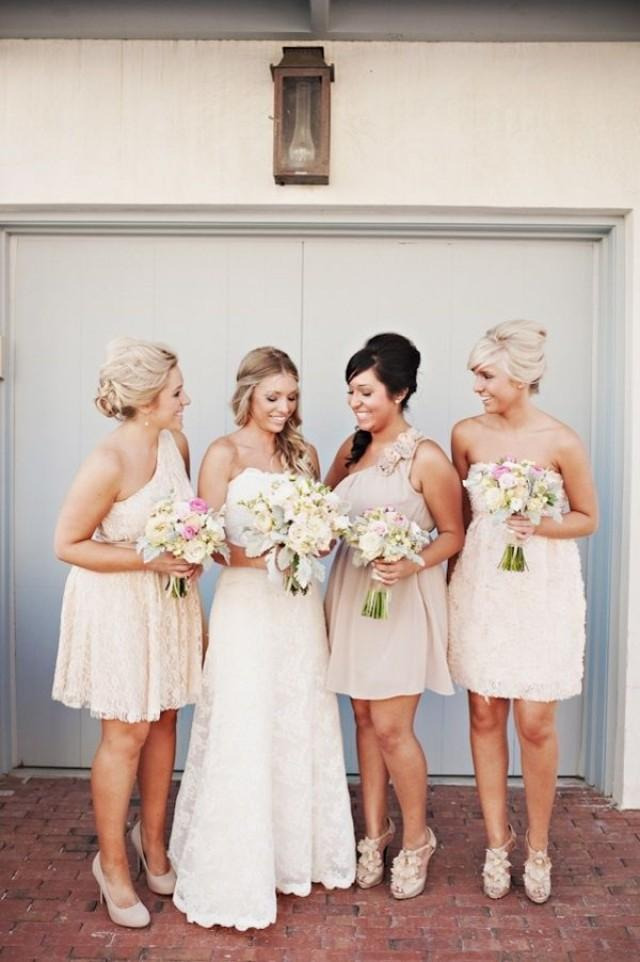 Different Short Dresses From A Similar Colour Palette - Emphasising The Bride In A Long White Gown. ~ E.A
