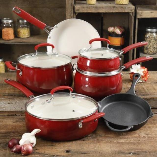 The Pioneer Woman Classic Belly Sunset Red Ceramic Non-Stick Interior 10-Piece Cookware Set