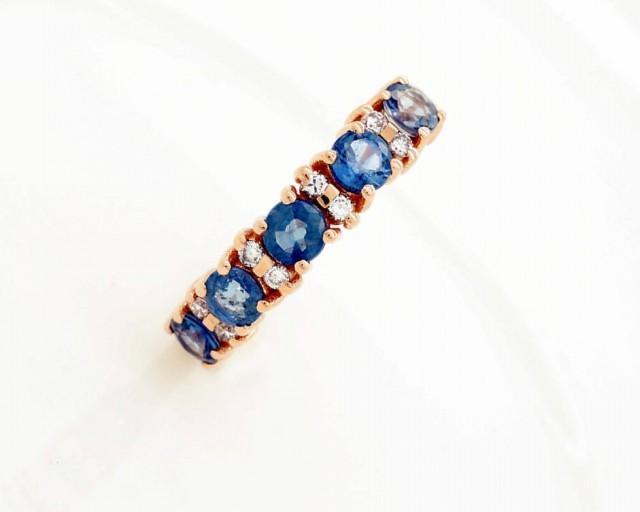Sapphire wedding band-Blue sapphire engagement ring-Blue sapphire band-Rose Gold Ring-Sapphire ring-Anniversary ring-Multistones ring