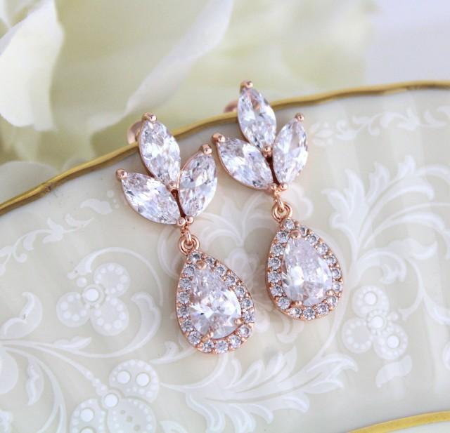Rose Gold earrings, Wedding jewelry, Bridesmaid earrings, Bridal earrings, Crystal earrings, Wedding earrings, Teardrop earrings, Simple