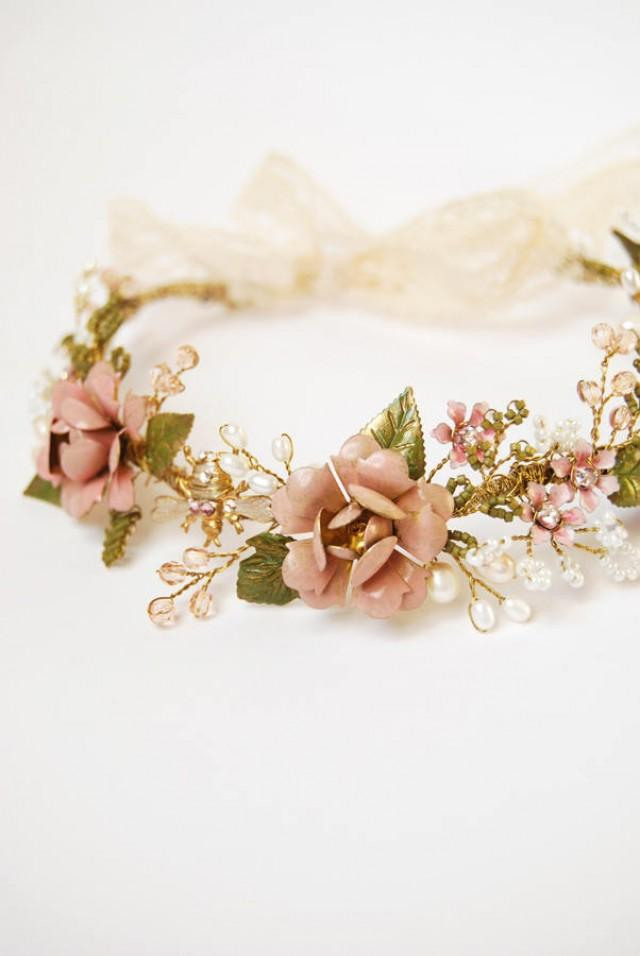 Pink flower hair crown, Wedding hair crown, crystal and pearl headband, bohemian bride, woodland head wreath, rustic wedding, hair accessory