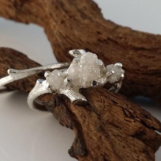 White Gold Raw Three Rough Diamond Engagement Ring Set, Rough Raw Diamond Wedding Ring Set, Hand Sculpted Engagement Rings by Dawn Jewelry