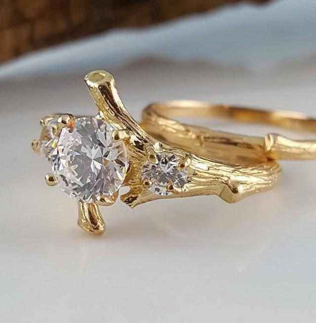 Moissanite Engagement Ring set, Hand Made Branch Style Three Round Moissanite Wedding Ring Set, bridal band set by Dawn Vertrees Engagement