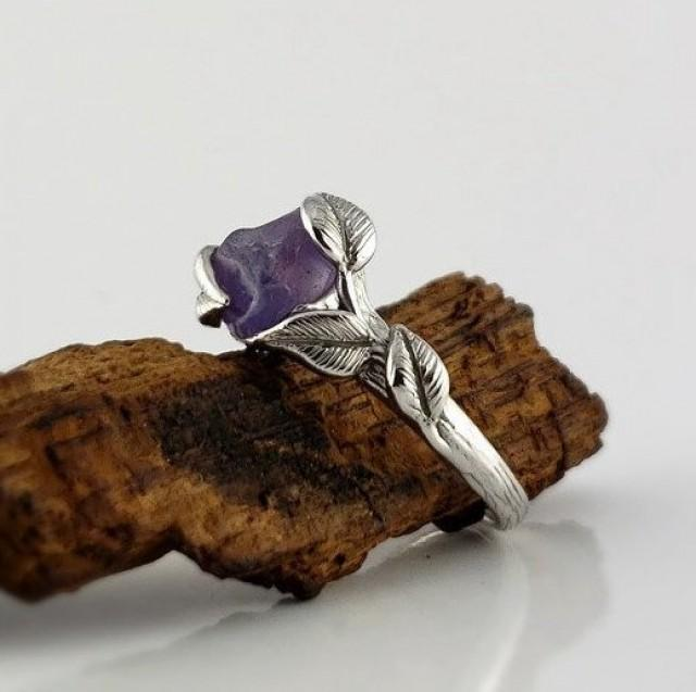 Purple Raw Sapphire Leaf & Twig Engagement Ring, Raw Stone Sapphire Ring Hand Sculpted by Dawn Vertrees Jewelry