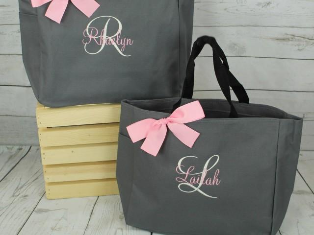 Set of 6 Bridesmaid Tote Bags Monogrammed Tote, Bridesmaids Gift, Personalized Tote, Wedding Day Tote Bag, Bridal party tote