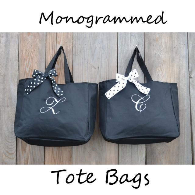 6 Personalized  Bridesmaid Tote Bags, Bridesmaid Gift, Monogrammed Tote, Bridesmaids Tote, Personalized Tote, Wedding Day Tote Bag