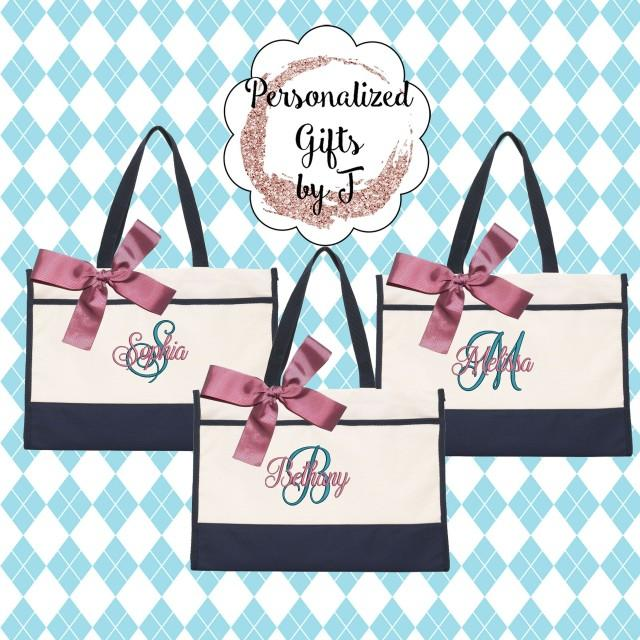 6 Bridesmaid Gifts Monogrammed Tote Bag Monogrammed Tote, Bridesmaid Tote, Personalized Tote Wedding