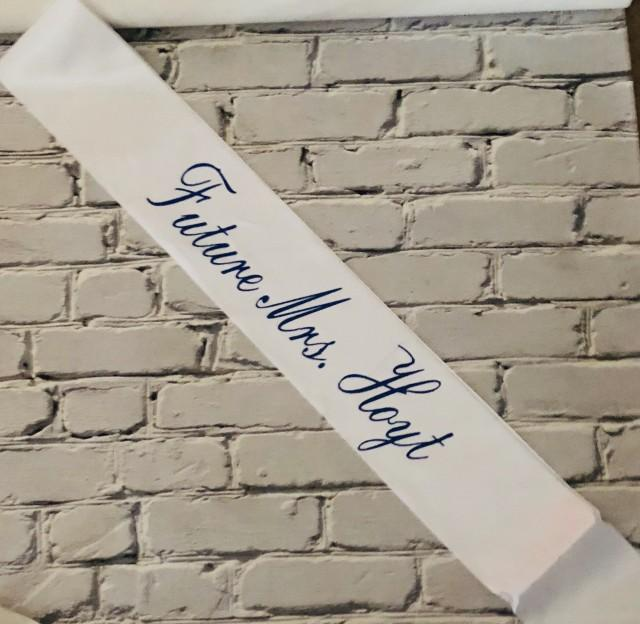 Bride to Be Satin Ribbon Sash; Bachelorette party; glittery; engagement party; heat transfer lettering