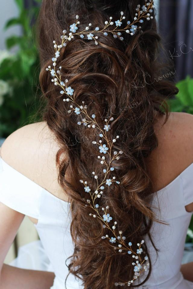 Moonstone long hair vine Wedding hair vine Blue bridal hair accessory Pearls hair piece Blue pearls bridal headpiece Bridal pearl halo