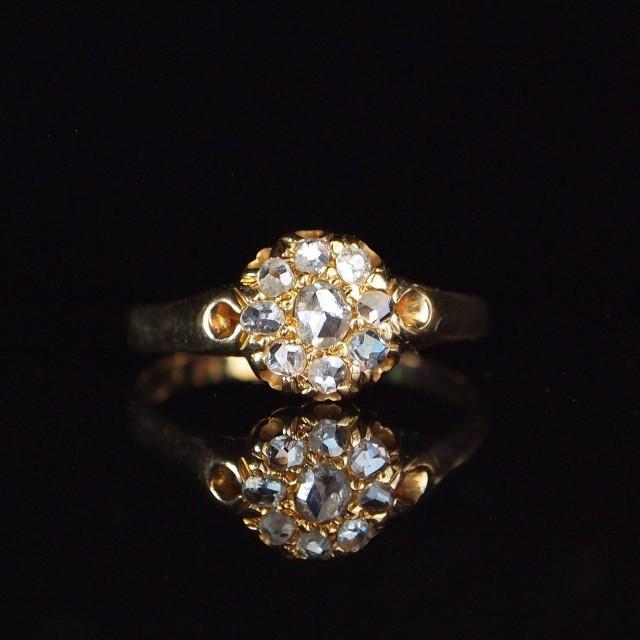 1880 0.30ct Rose Cut Diamond Cluster 18ct Yellow Gold Ring