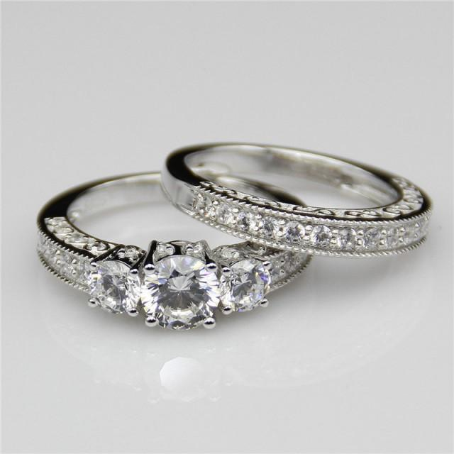 1ct Round Esdomera Moissanite Vintage Filigree 3-stones 14k White Gold Wedding Bridal Set Engagament Ring Band (CFR0226WS-ESMS1CT)